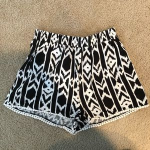 Dream State Black and White Tribal Shorts